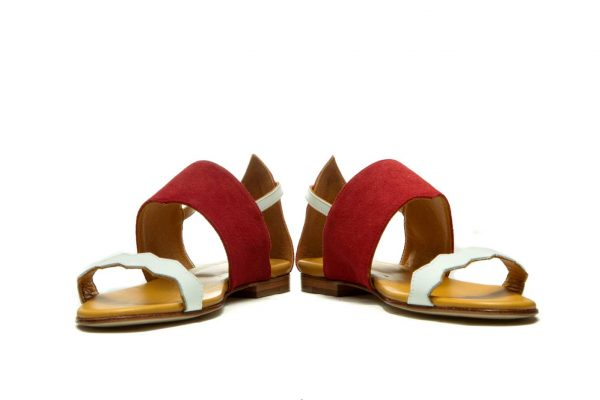 Womens Shoes Flat Red Strappy Sandals