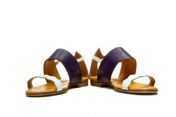 Womens Shoes Flat Purple Strappy Sandals