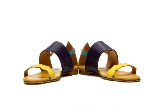 Womens Shoes Flat Purple And Yellow Strappy Sandals