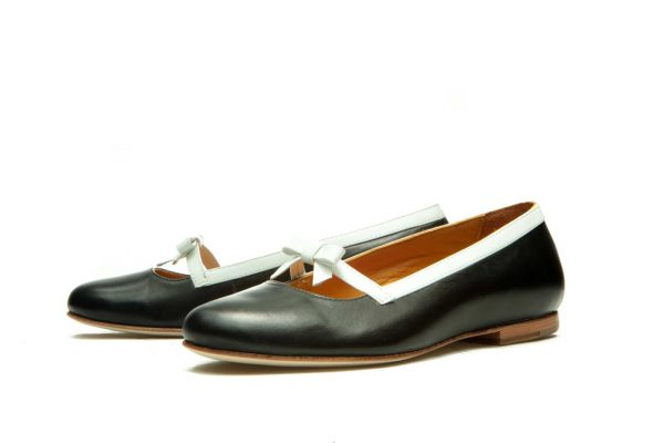 Womens Shoes Black And White Bow Ballet Flats