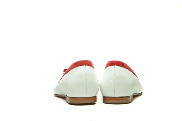 Womens Shoes White And Red Bow Ballet Flats
