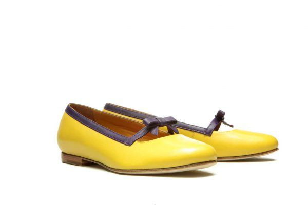 Womens Shoes Yellow And Purple Bow Ballet Flats