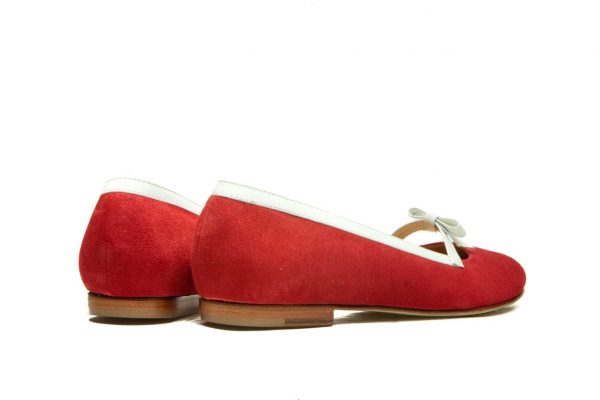 Womens Shoes Red And White Bow Ballet Flats