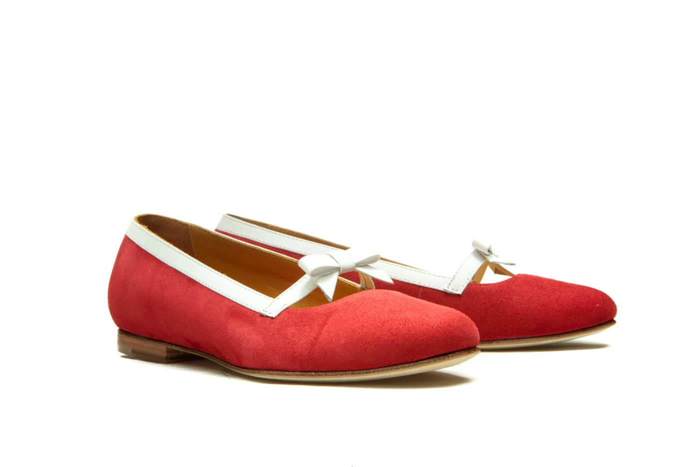 Red leather ballet flats   Handmade