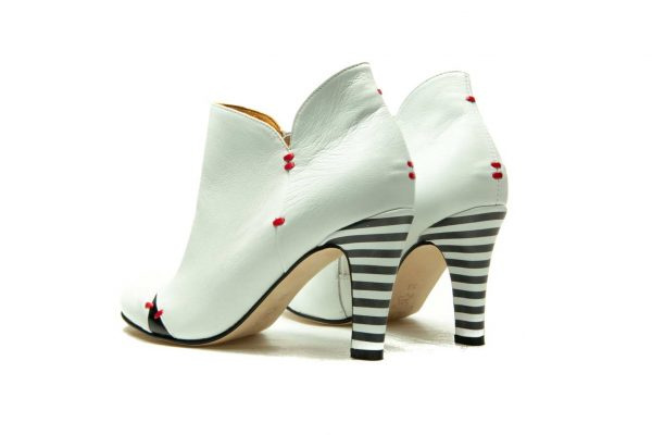Womens Shoes High Heel White Ankle Boots
