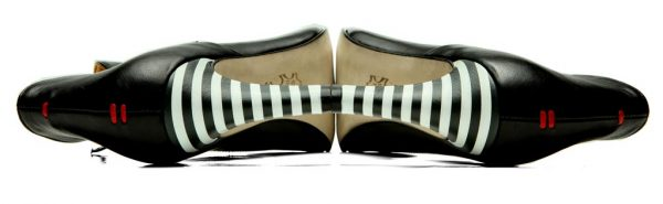Womens Shoes High Heel Black Ankle Boots With Striped Heel