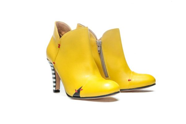 Womens Shoes High Heel Yellow Ankle Boots