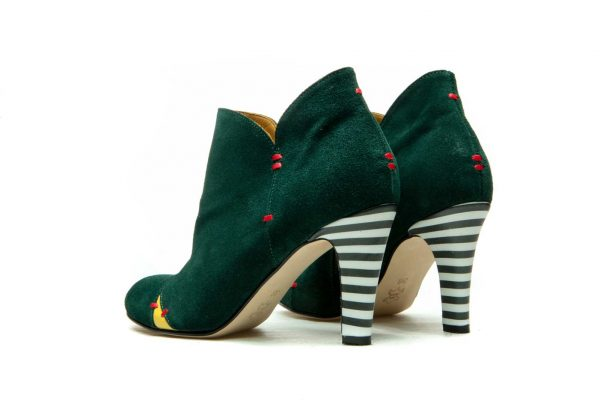 Womens Shoes High Heel Green Ankle Boots