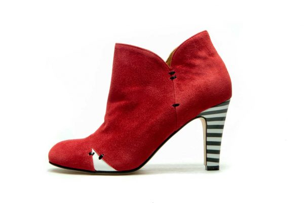 Womens Shoes High Heel Red Ankle Boots