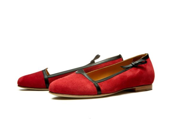 Womens Shoes Red And Black Ballet Flats