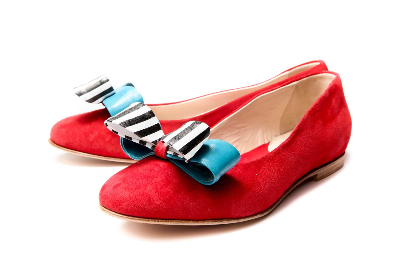 Red leather ballet flats | Double bow