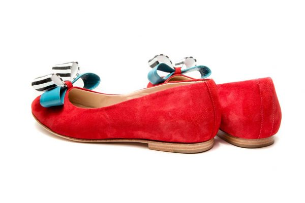 Womens Shoes Red Double Bow Ballet Flats