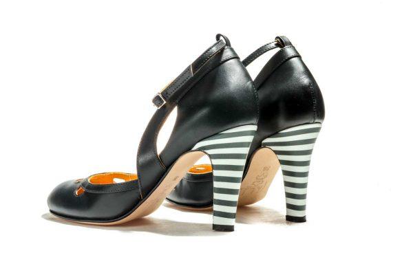 Handmade Womens Shoes Black High Heel Dorsay Pumps