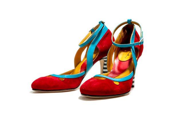 Handmade Womens Shoes Red High Heel Dorsay Pumps