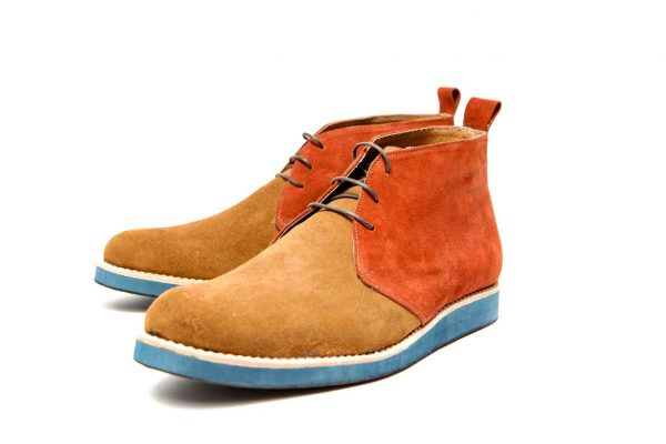 Handmade Mens Brown Shades Open Lacing Chukka boots