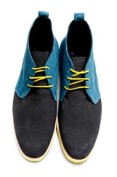 Handmade Mens Blue Shades Open Lacing Chukka boots