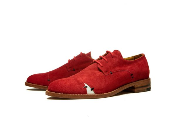 Womens Shoes Red Open Lacing Derby Shoes