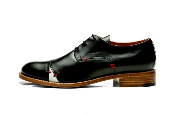 Womens Shoes Black Open Lacing Derby Shoes