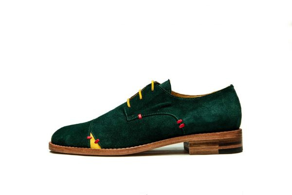Womens Shoes Green Open Lacing Derby Shoes