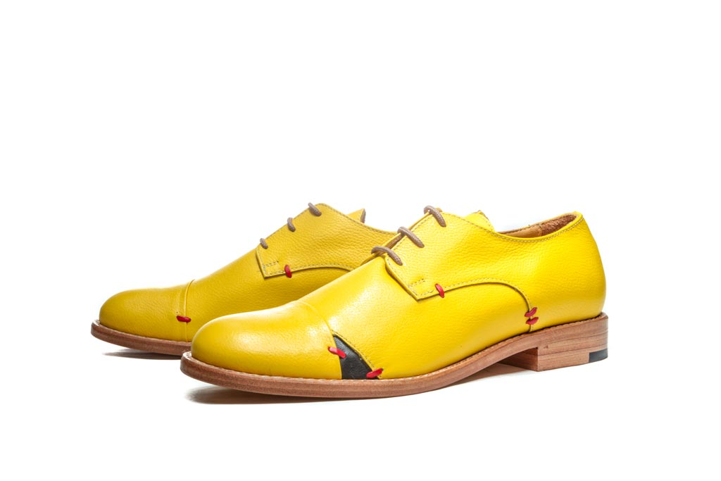 Women Leather Shoes Derby Shoes Womens Flats Oxford Shoes Tie Shoes Yellow Shoes Flat Shoes Pointed Flats Yellow Leather Shoe
