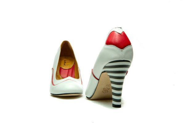 Handmade Womens Shoes Heart Shape White High Heel Pumps