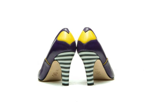 Handmade Womens Shoes Heart Shape Purple High Heel Pumps