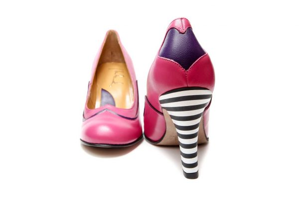 Handmade Womens Shoes Heart Shape Pink High Heel Pumps