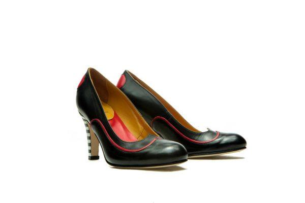 Handmade Womens Shoes Heart Shape Black High Heel Pumps