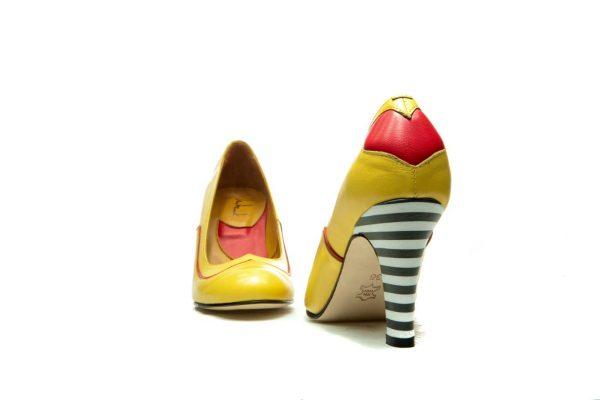 Handmade Womens Shoes Heart Shape Yellow High Heel Pumps