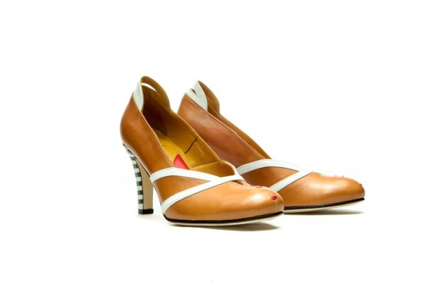 Handmade Womens Shoes High Heel Brown Pumps