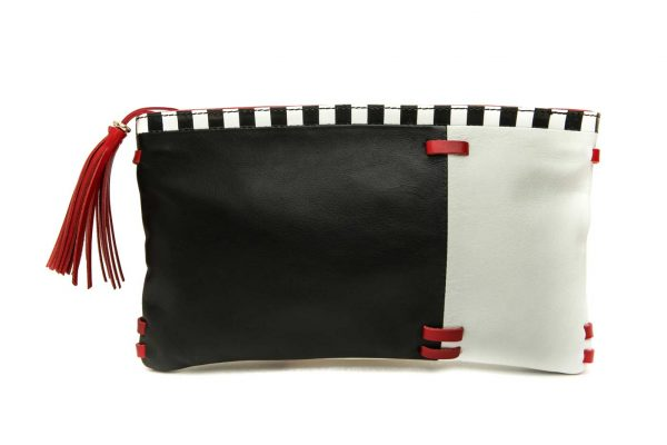 Womens Black And White Soft Leather Envelope Zipper Handmade Clutch Purse