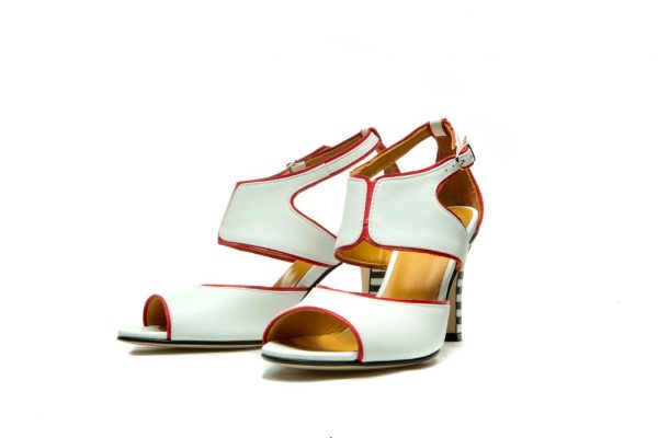White Handmade Womens Shoes Strapped High Heel Sandals