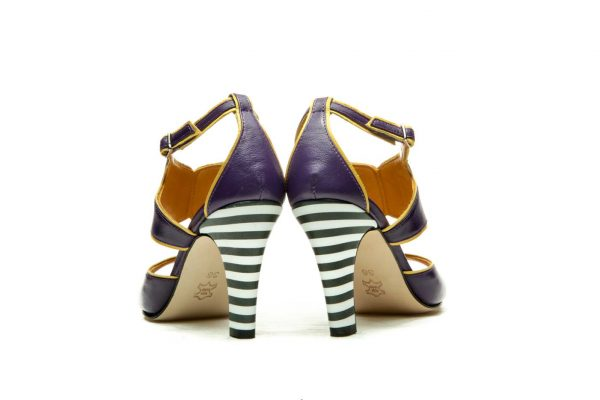 Purple Handmade Womens Shoes Strapped High Heel Sandals