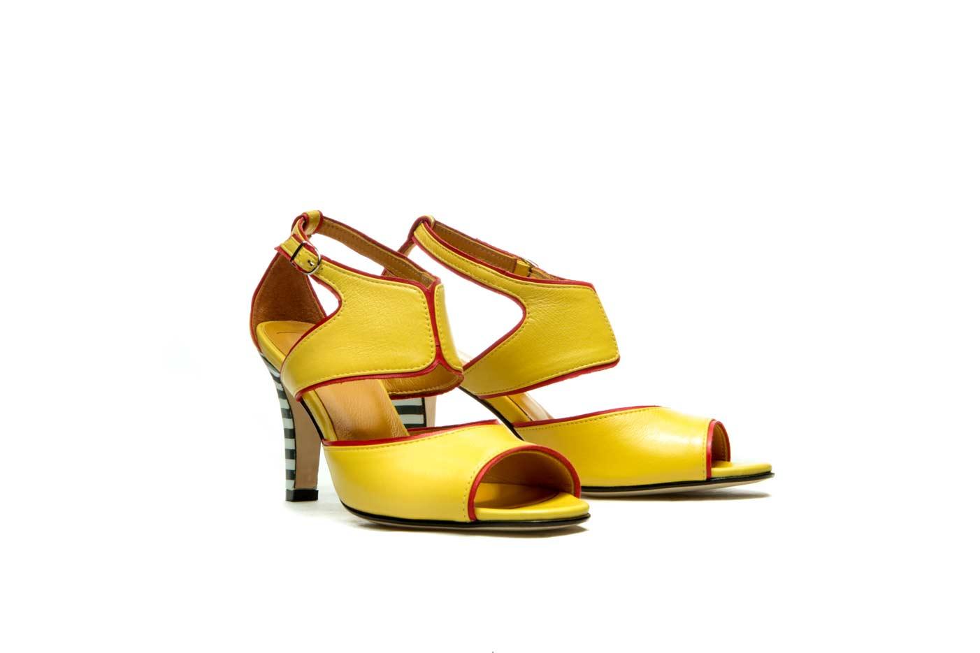 Yellow heeled sandals   Handmade summer