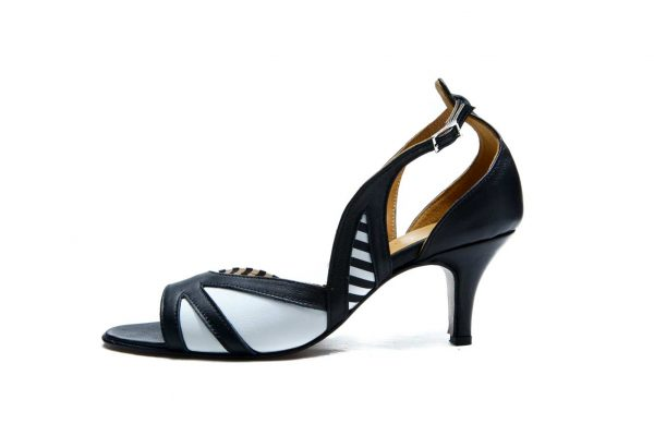 Handmade Womens Shoes Black Sling Back Mid Heel Sandals