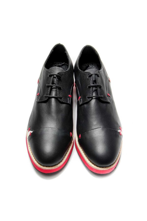 Womens Shoes Black And Red Open Lacing Derby Shoes