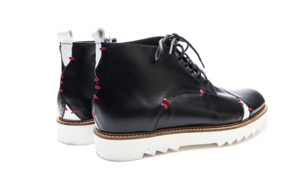 Handmade Mens Black And White Leather Ankle Boots With Open Lacing