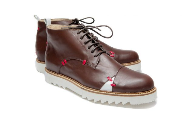 Handmade Mens Brown And White Leather Ankle Boots With Open Lacing