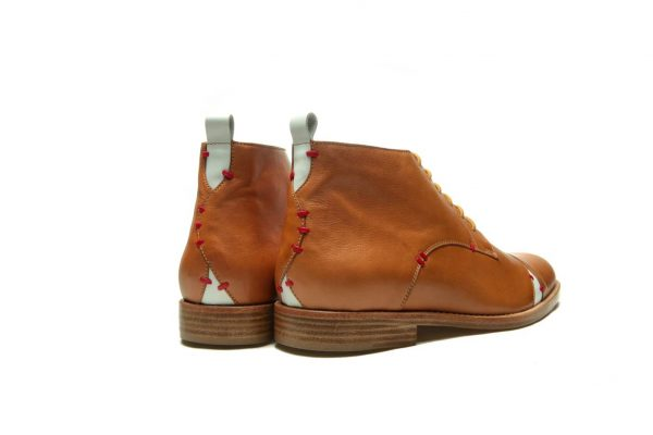Handmade Mens Brown Leather Ankle Boots With Open Lacing
