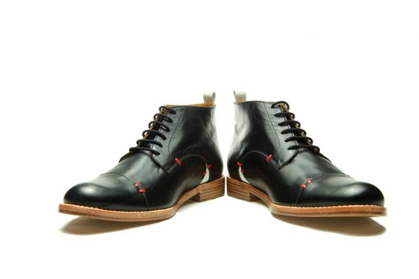 Handmade Mens Black Leather Ankle Boots With Open Lacing