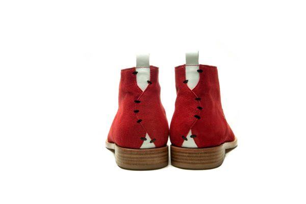 Handmade Mens Red Leather Ankle Boots With Open Lacing
