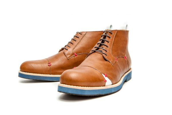 Handmade Mens Brown And Blue Leather Ankle Boots With Open Lacing