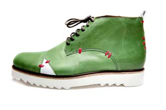 Handmade Mens Green And White Leather Ankle Boots With Open Lacing