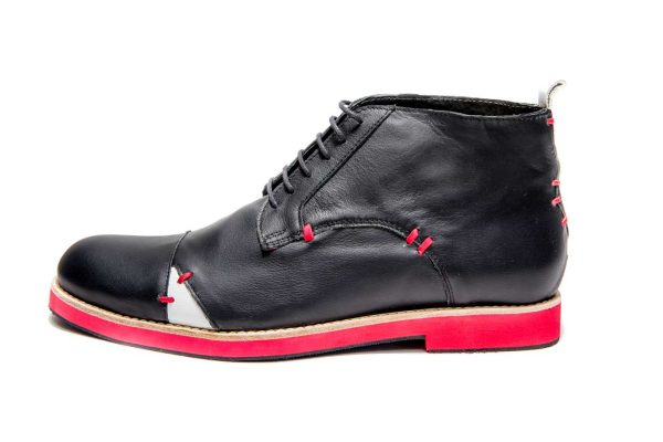 Handmade Mens Black And Red Leather Ankle Boots With Open Lacing