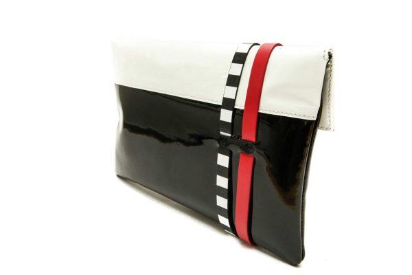 Womens Designer Clutch Purse Black Patent Leather Envelope Clutch