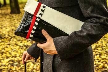Womens Designer Clutch Purse In Black Patent Leather Envelope Clutch