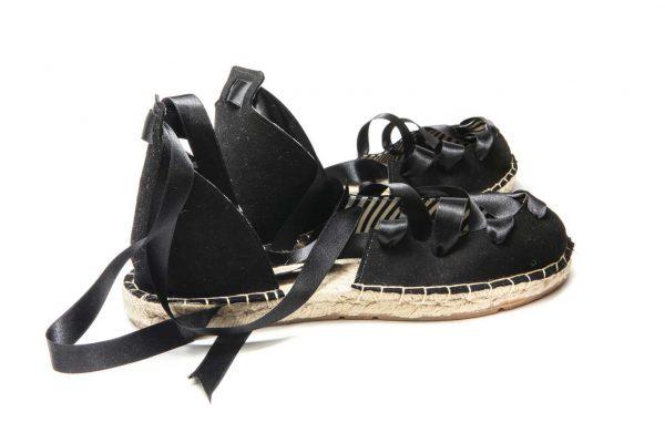 Womens Shoes Flat Lace Up Black Espadrilles