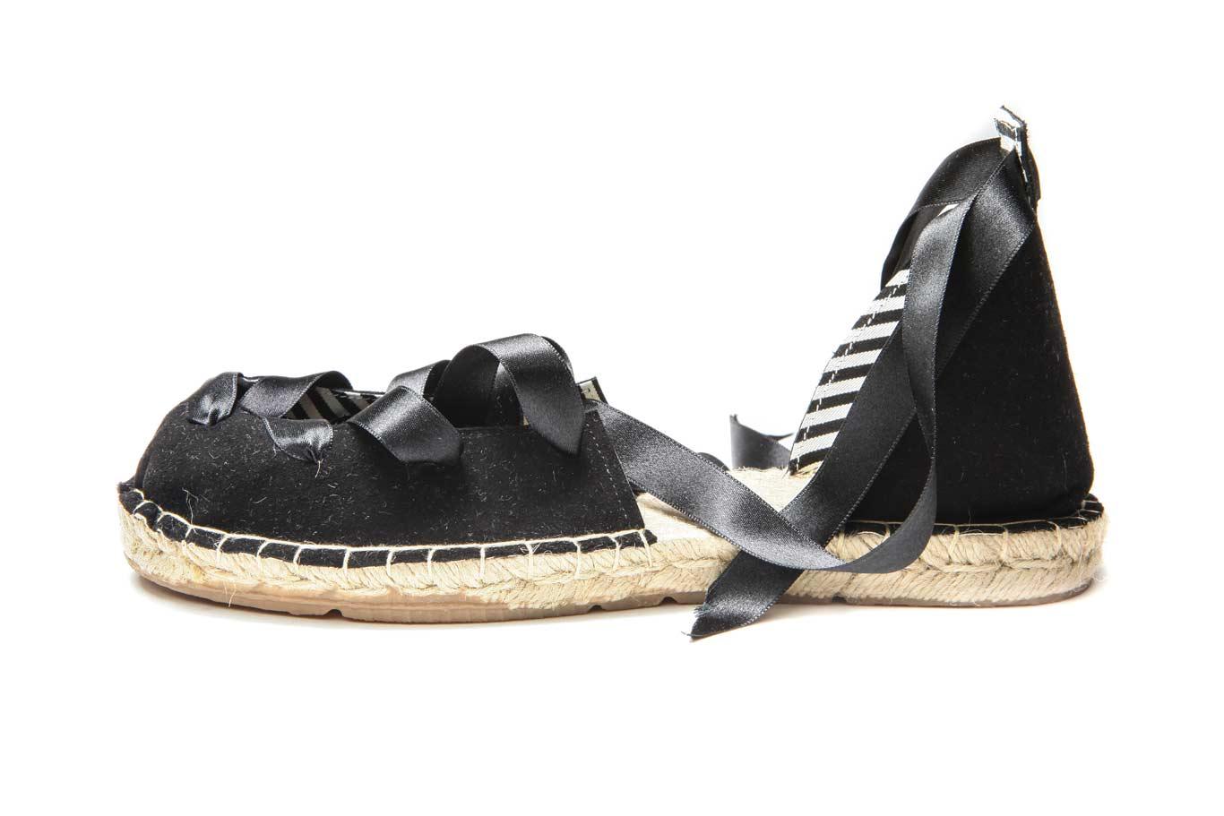 Black leather espadrilles   Handmade