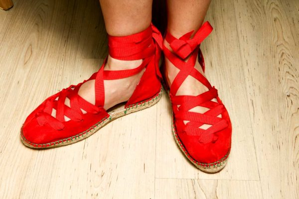 Womens Shoes Flat Lace Up Red Espadrilles