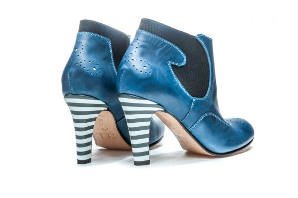 Womens Shoes High Heel Blue Chelsea Ankle Boots
